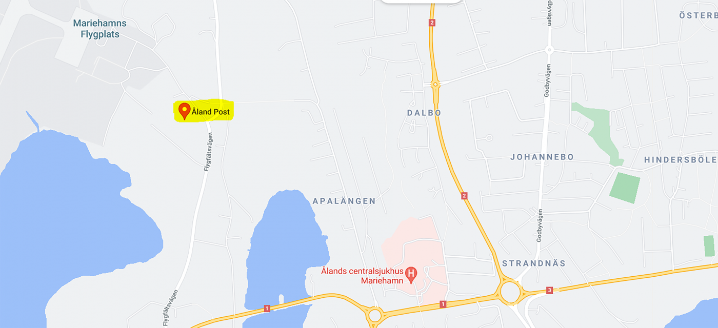 Google Maps karta över Åland Post